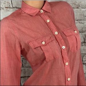 J.Crew Blouse Shirt Top Coral Button Roll Tab XS
